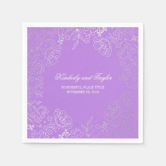 Silver och lilablommigtvintage bröllop pappersservett