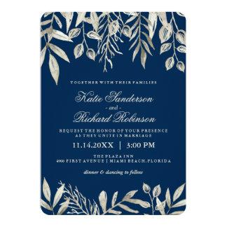 Silver och marinblåa bröllopinbjudningar 12,7 x 17,8 cm inbjudningskort