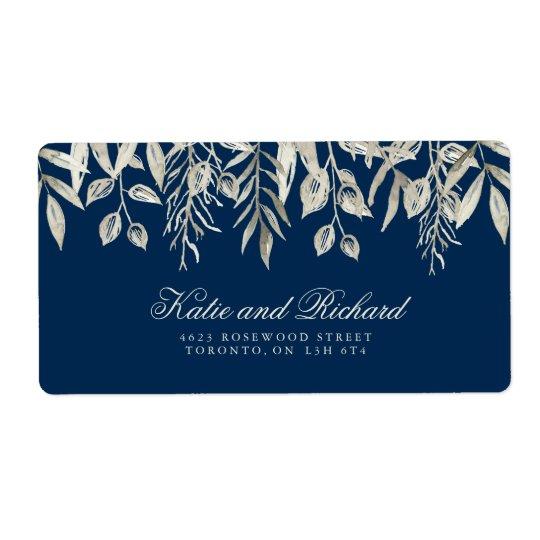 Silver- och marinbröllopadressetiketter fraktsedel