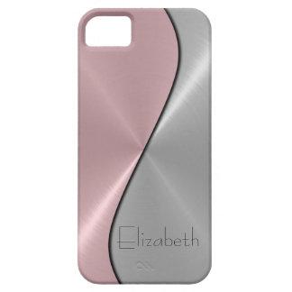Silver- och rosarostfritt stålmetall iPhone 5 Case-Mate skal