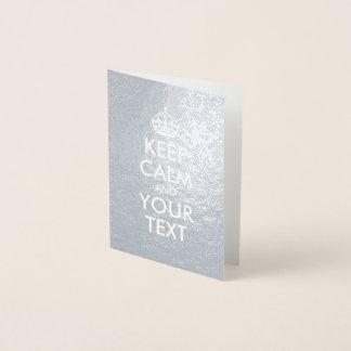Silver- och vitbehållalugn och din text folierat kort