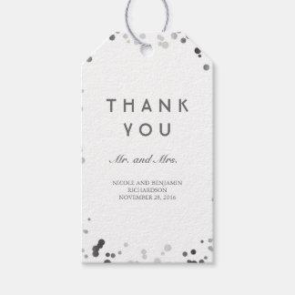 Silver och vitkonfettielegant bröllop presentetikett