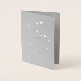 Silver omkullkastar Leo Zodiackonstellation Folierat Kort