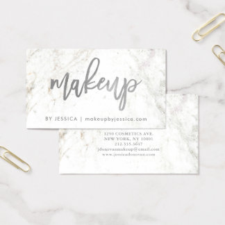 Silver skrivar på Makeup för vitmarmor | Visitkort