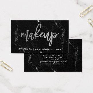 Silver skrivar på svart Makeup för marmor | Visitkort