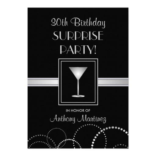 Silver & svart för 30års födelsedagöverrrakningpar anpassade inbjudan