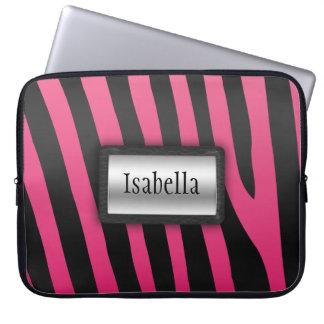 Silver-, svart- och rosazebra ränderlaptop sleeve laptopskydd fodral