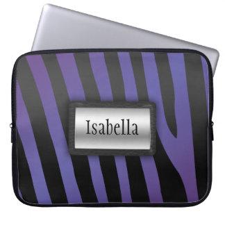 Silver svart/purpurfärgad zebra ränderlaptop sleev datorskydd