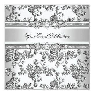 Silver utföra i relief elegantt party för Lookvit Fyrkantigt 13,3 Cm Inbjudningskort