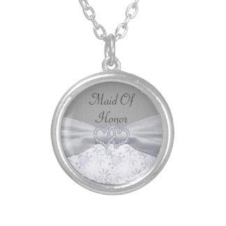 Silver, vitstjärnor & gifta sig för snöflingor silverpläterat halsband