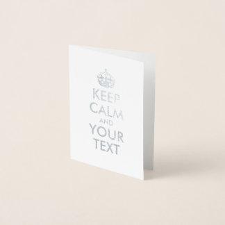 Silverbehållalugn och din text folierat kort