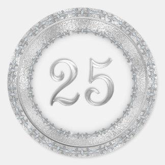 Silverbröllopsdagklistermärke Runt Klistermärke