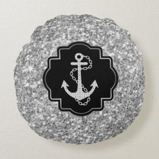 Silverglitter & det nautiska fartyget ankrar rund kudde