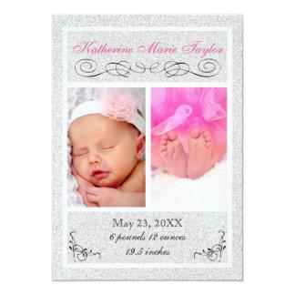 Silverglitter - födelsemeddelande 12,7 x 17,8 cm inbjudningskort