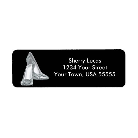 Silverglitter skor födelsedagreturadressetiketten returadress etikett