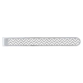 Silverglittersicksacken görar randig sparremönster slipsnål med silverfinish
