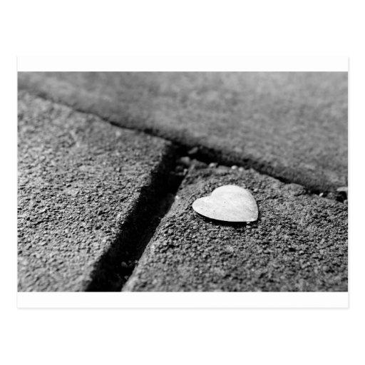 Silverhjärta på trottoaren vykort