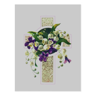 Silverkor med lila blommor vykort