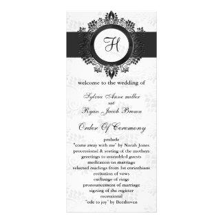 silvermonogrambröllopsprogram rackkort med full färg