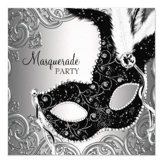 Silversvarten maskerar maskeradpartyet fyrkantigt 13,3 cm inbjudningskort