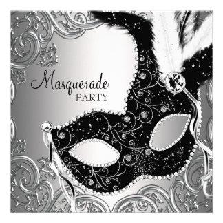 Silversvarten maskerar maskeradpartyet personliga inbjudningskort