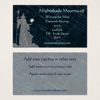 Silvertrollkarl på natthimmel visitkort