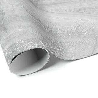 Silvervitgrått marmorerar smält metalliskt skina presentpapper