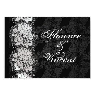 Silvervitsnöre, svart damastast bröllopinbjudan 12,7 x 17,8 cm inbjudningskort