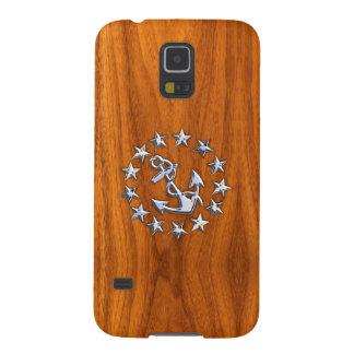 Silveryachtflagga på det Wood trycket för nautisk Galaxy S5 Fodral