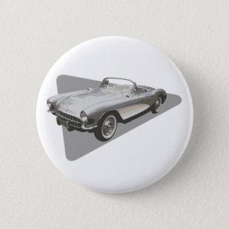 Silvriga blått Corvette 1959 på silver Standard Knapp Rund 5.7 Cm