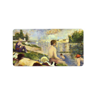 Simbassäng av Georges Seurat Adressetikett