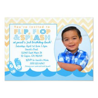 Simbassängpartyinbjudan för pojkeFlipmisslyckande 12,7 X 17,8 Cm Inbjudningskort