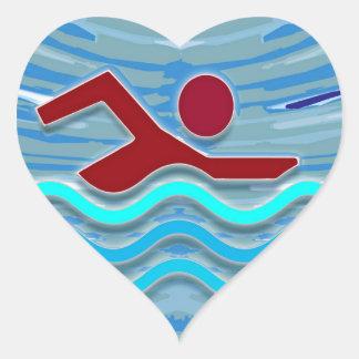 Simmaklubbsimmaren övar simning för kondition hjärtformat klistermärke