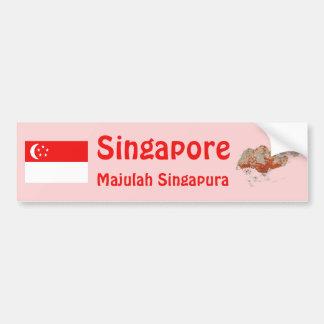 Singapore flagga + Kartabildekal Bildekal