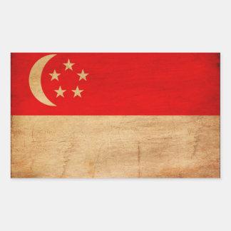 Singapore flagga rektangulärt klistermärke