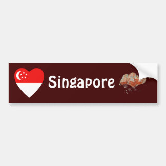 Singapore flaggahjärta + Kartabildekal Bildekal