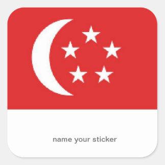 Singapore flaggaklistermärke fyrkantigt klistermärke