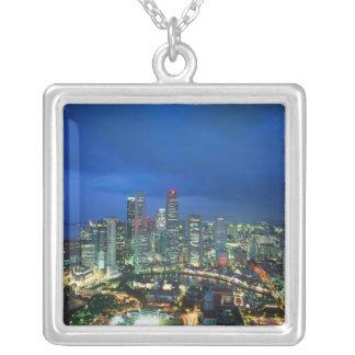Singapore horisont på natten, Singapore Silverpläterat Halsband