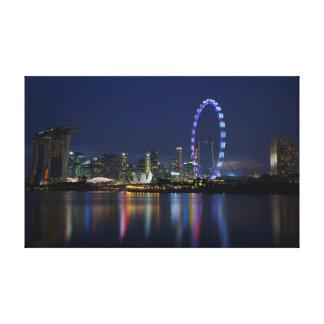 Singapore horisont vid natt canvastryck