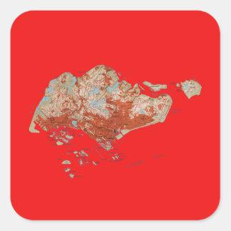 Singapore kartaklistermärke fyrkantigt klistermärke