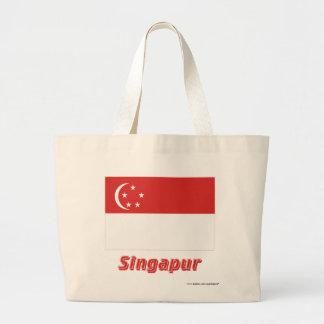 Singapur Flagge mit Namen Tygkasse