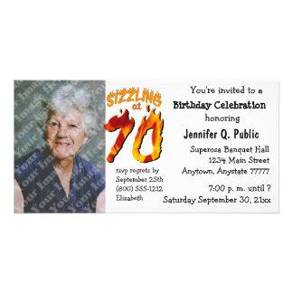 Sizzling på fotoinbjudan för 70 födelsedagsfest fotokort