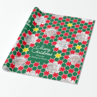 Sjal för foto för jul för stjärnamönstergrönt röd presentpapper