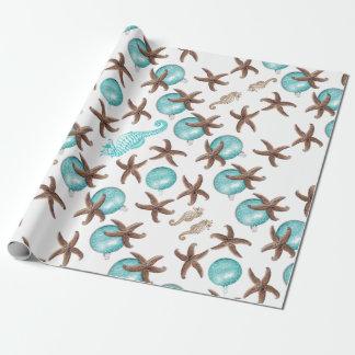 Sjal för gåva för jul för mönster för havsliv presentpapper