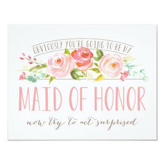 Självfallet kort för maid of honorroträdgård 10,8 x 14 cm inbjudningskort