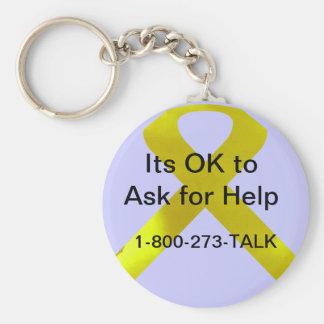 Självmordmedvetenhethjälp Keychain Rund Nyckelring