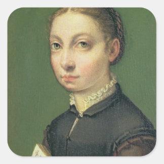 Självporträtt 1554 fyrkantigt klistermärke