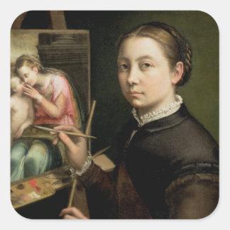 Självporträtt 1556 fyrkantigt klistermärke