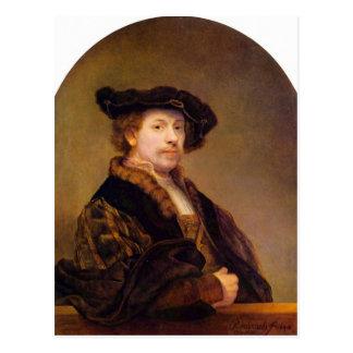 Självporträtt av Rembrandt Harmenszoon skåpbil Vykort
