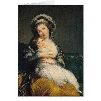 Självporträtt i en Turban med henne barn, 1786 Hälsningskort